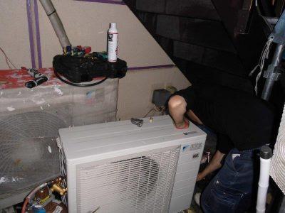 ②室外冷媒配管作業